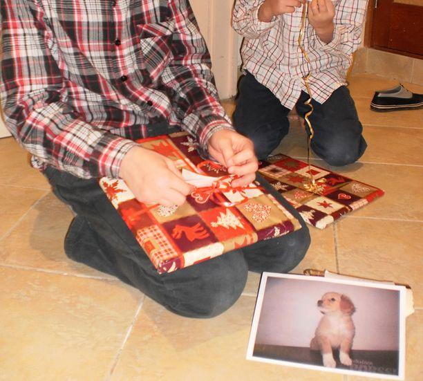 Ennen pennun kotiutumista Elinan pojat harjoittelivat koiran ulkoilutusta, lukivat innoissaan koirakirjoja ja pussailivat heille varatun Noppa-pennun kuvaa.