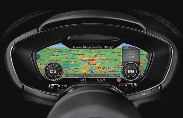 Navigaattorinäkymä aukenee leveästi kuljettajan silmien eteen.