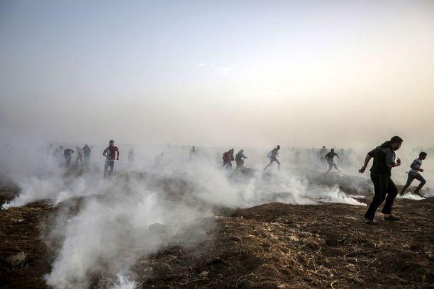 Satoja palestiinalaisia on loukkaantunut ja kuollut sen jälkeen, kun yhteenotot Israelin kanssa jälleen alkoivat tänä keväänä. Kuva perjantailta 25. toukokuuta.