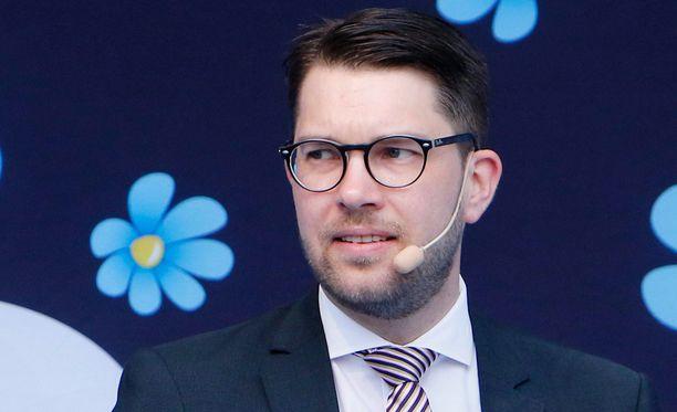 Ruotsidemokraattien puoluejohtajan Jimmie Åkesson.