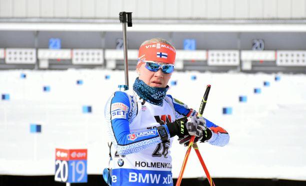 Kaisa Mäkäräinen puolustaa normaalimatkan MM-pronssia.
