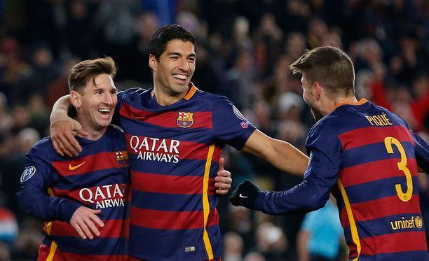 Lionel Messi, Luis Suárez ja Gerard Piqué onnistuivat maalinteossa Romaa vastaan.
