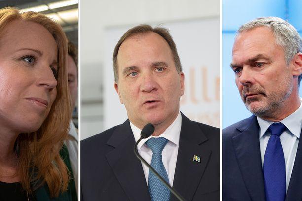 Keskustan Annie Lööf, sosiaalidemokraattien Stefan Löfven ja liberaalien Jan Björklund neuvottelevat viikonlopun aikana Ruotsin hallitusratkaisusta.