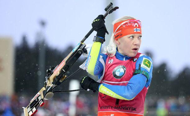 Kaisa Mäkäräinen on kärsinyt terveysmurheista olympialaisten alla.