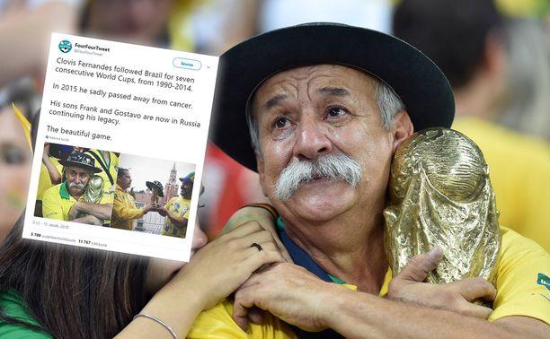 Legendaarinen brasililaiskannattaja Clovis Fernandes kuoli vuonna 2015.
