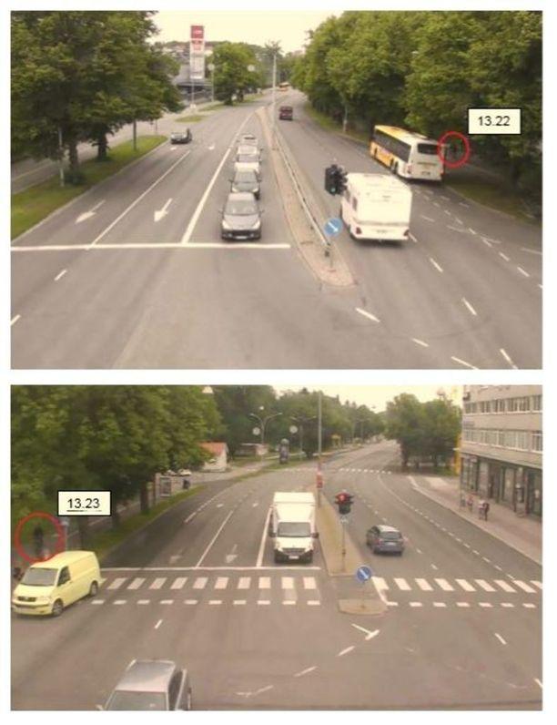 Henkilö ajaa polkupyörällä Kaarinan suunnasta kohti Turun keskustaa. Kuvat ovat Turun kaupungin liikennekameroista Uudenmaantien ja Hippoksentien risteyksestä kello 13.22 ja Uudenmaan ja itäisen Pitkäkadun risteyksestä kello 13.23.