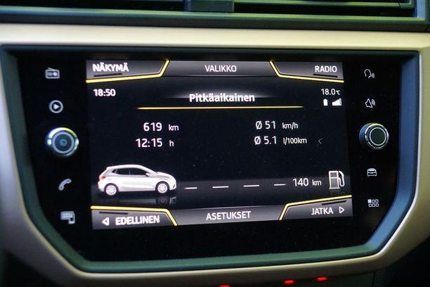 Koeajon keskikulutus oli auton oman kulutusmittarin mukaan 5,1 litraa sadalla.