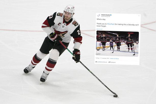 Oliver Ekman-Larsson antoi 8-vuotiaan aloittaa NHL-ottelussa.