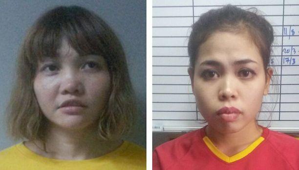 Murhasta epäiltyinä on vangittu vietnamilainen Doan Thi Huong (vas.) ja indonesialainen Siti Aisyah. Heitä voi odottaa kuolemantuomio.