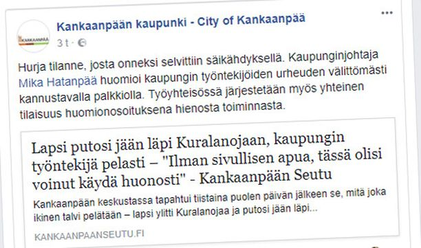 Kaupunki kertoi palkitsemisesta Facebook-sivullaan.