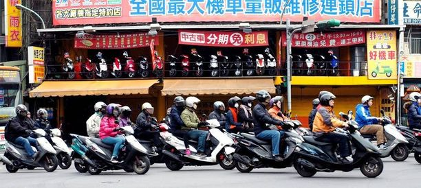 Moottoripyörät ja mopot ovat tärkeimmät ja käytetyimmät liikennevälineet Taiwanissa.