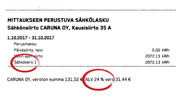 Sähköveroon sisältyy Suomessa arvonlisävero.