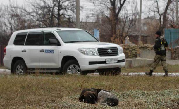 Etyjin tarkkailijoiden ajoneuvo liikkui Ukrainassa Debaltseven kaupungissa marraskuussa.