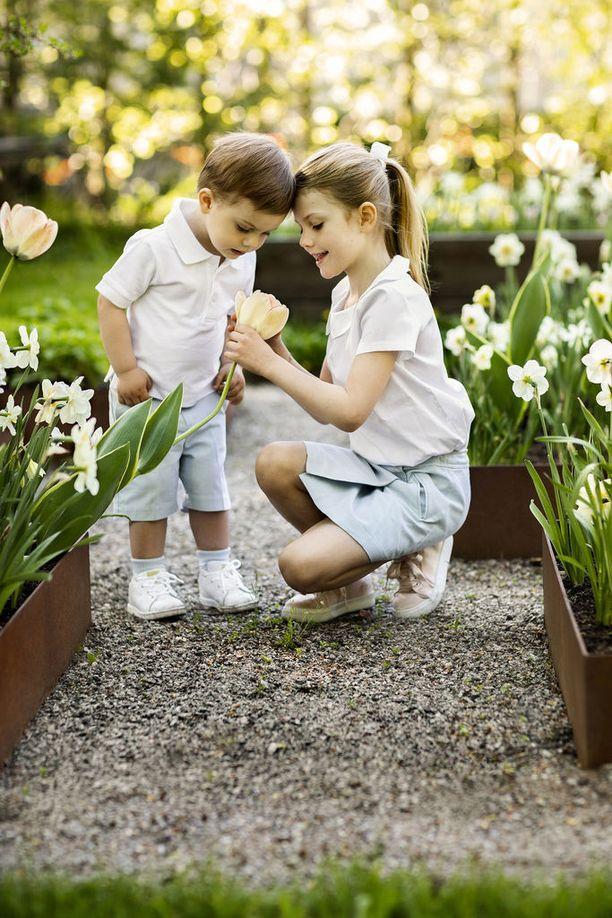 Estelle näyttää veljelleen kukkaa.