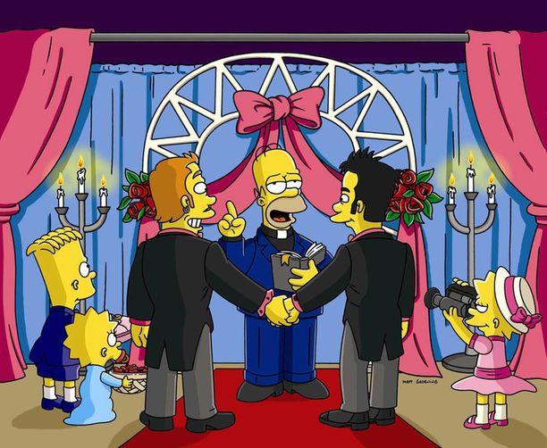 Kohtaus 16. tuotantokauden kymmenennestä osasta, jossa Homer alkaa tehdä rahaa vihkimällä ihmisiä uuden pappipestinsä ansiosta. Vuonna 2005 esitetty jakso oli kolmas, joka keskittyi aiheista homoseksuaalisuuteen.