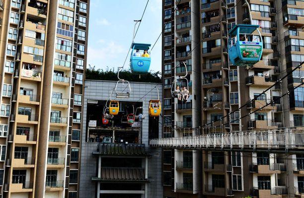Suuressa ja tiheään asutussa Chongqingissä riittää pilvenpiirtäjiä.
