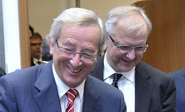 Euroryhmän puheenjohtaja Jean-Claude Juncker ja talouskomissaari Olli Rehn eilen Luxemburgissa eilen.