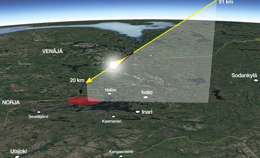 Tulipallon lentoradan mallinnus. Keltainen viiva näyttää tulipallon valoisan lennon vaiheen. Musta kaareva nuoli kuvastaa pimeän lennon vaihetta, jonka aikana suuri määrä palasia on päätynyt Vätsärin erämaahan punaisella merkitylle seudulle.