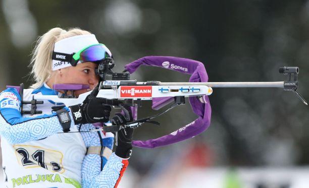 Mari Laukkanen pudotti 17/20 taulua Anterselvassa.