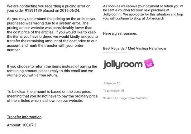 Tällaisen viestin asiakas sai Jollyroomilta.