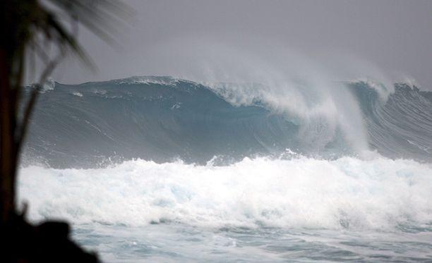 Kuvituskuvan aalto on noin kuusimetrinen.