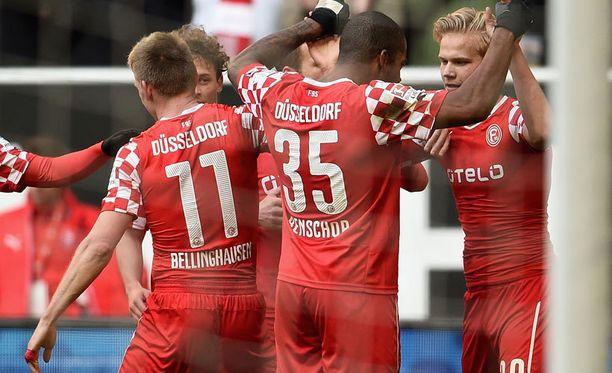 Fortuna Düsseldorfin Joel Pohjanpalo (oik.) osui viime sunnuntaina yhdeksännen kerran tällä kaudella.
