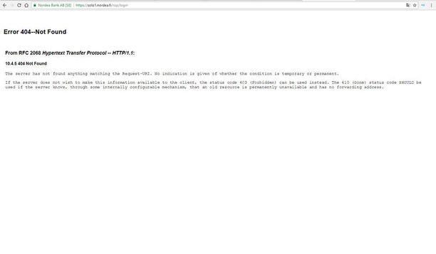 Kun aiemmin sunnuntaina koetti kirjautua Nordean verkkopankkiin selaimen kautta, tuli sivustolla esiin tällainen näkymä. Kuvakaappaus.