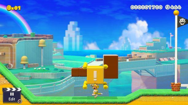 Nyt pelissä nähdään myös kissapuku, jonka avulla Mario voi kiipeillä seinillä.
