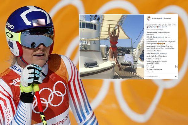 Yhdysvaltalainen alppitähti Lindsey Vonn rentoutuu kesälomallaan Etelä-Euroopassa.