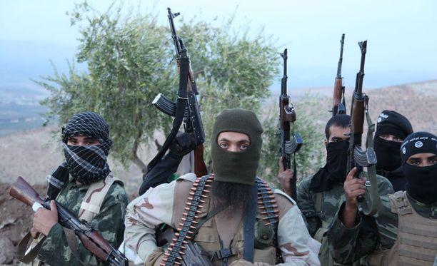 Isis-taistelijoita Aleppossa Syyriassa.