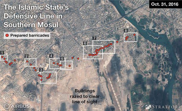 Äärijärjestö Isis on järjestänyt puolustusasemansa Mosulin kaupungin laitamille.