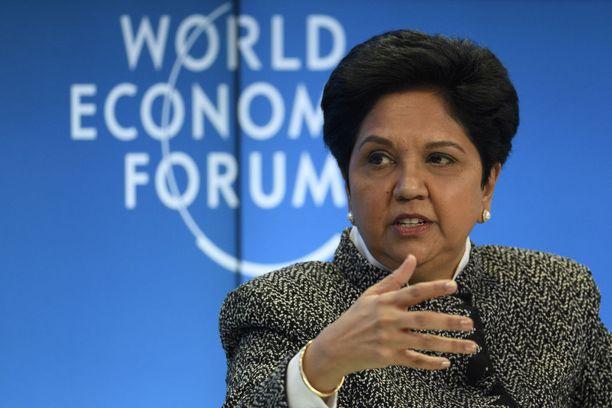 Indra Nooyi osallistui Maailman talousfoorumiin Sveitsin Davosissa viime tammikuussa.