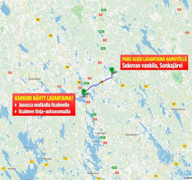 Vinkkaajan mukaan vankikarkuri väitti aikovansa jatkaa matkaa Iisalmesta Nurmekseen.