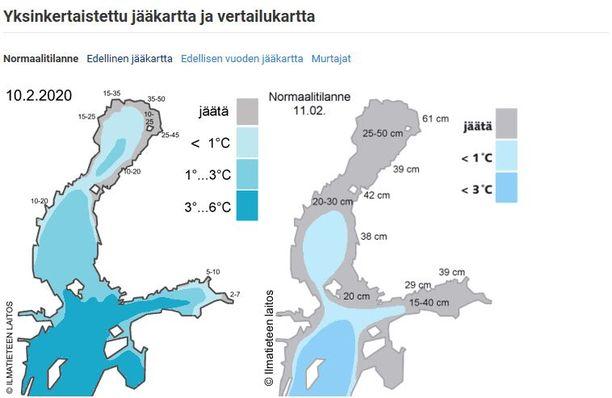 Jäätä on tänä vuonna muodostunut vain aivan rannoille, ja niillekin vain Perämerellä.