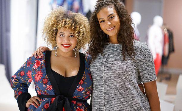Pluskokoinen bloggaaja Gabi Fresh ja malli Marquita Pring jenkkimerkki Loftin plus-malliston lanseerauksessa.