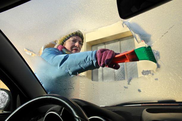 Niksi-Pirkka neuvoo sekoittamaan etikkaa ja vettä sekä suihkuttamaan seoksen auton tuulilasiin. Kuvituskuva.