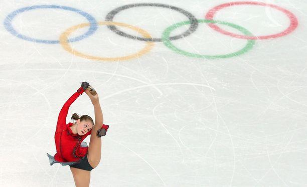 Venäläinen Julia Lipnitskaja uransa huipulla Sotshin olympialaisissa.