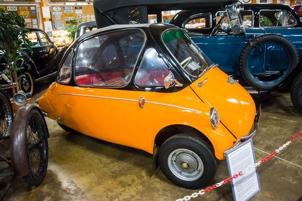 Trojan kääpioauto, joita tuotiin Suomeen 25 kpl. Yksilö on vuodelta 1964.