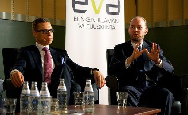 Alexander Stubb ja Sampo Terho EVA:n Venäjä-paneelissa.