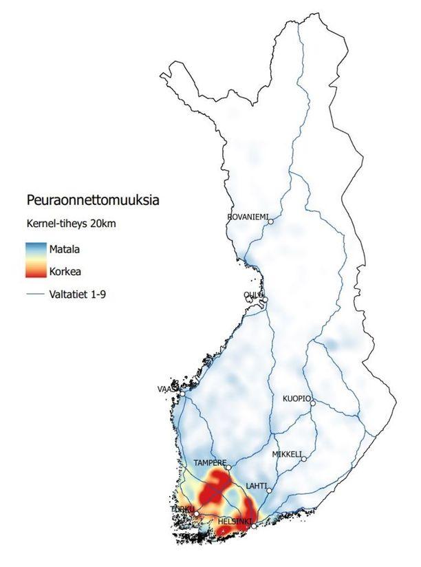 Peuraonnettomuuksien alueellinen jakautuminen Suomessa vuosina 2010-2015. Peuraonnettomuudet keskittyvät eteläiseen ja lounaiseen osaan Suomea. Esimerkiksi vuonna 2015 poliisille ilmoitettiin 3 659 peuraonnettomuutta. Punaisilla alueilla sattui tiheimmin onnettomuuksia.