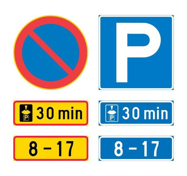 Molemmat merkkipylväät tarkoittavat samaa: pysäköinti on sallittu arkisin kello 8-17 pysäköintikiekolla 30 minuutiksi, mutta muina aikoina pysäköinti on vapaata.