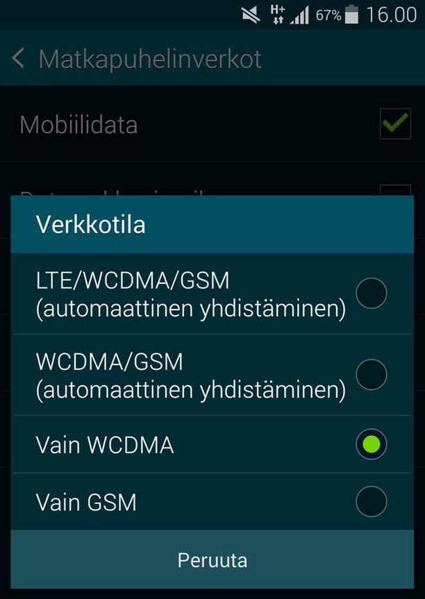 """Valitse asetukseksi """"vain WCDMA"""". Nyt puhelimesi ei tipu enää GSM-verkkoon."""