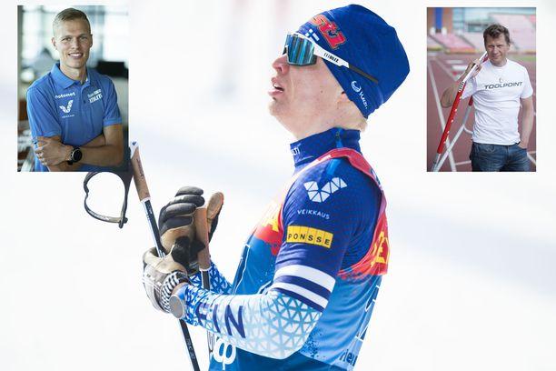 Topi Raitanen (pikkukuvassa vasemmalla) ei tarttunut Iivo Niskasen haasteeseen. Toni Roponen (pikkukuvassa oikealla) vitsailee, että Raitasen pitää esittää Niskaselle puolimaratonhaaste hiihtokauden aikana.