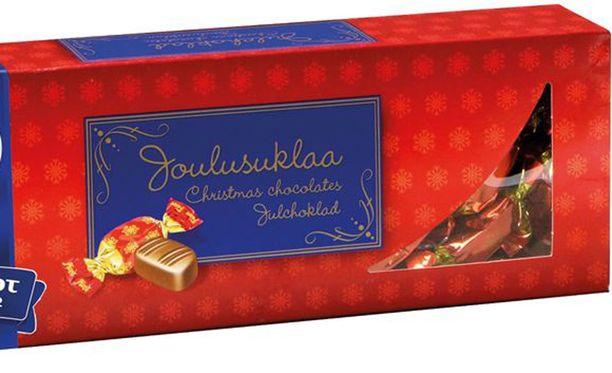 Fazer suosittelee Piparkakkusuklaan kaipaajille korvikkeeksi kuvan Joulusuklaa-konvehteja, jossa on yhdistetty maitosuklaa mausteiseen tryffelitäytteeseen.