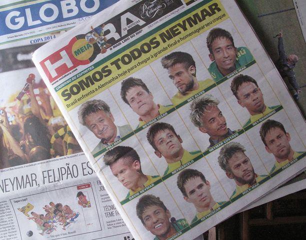 Kaikki Neymarin puolesta: Brasilian joukkueen pelaajat ovat nyt kaikki Ney- tai -mar nimisiä.