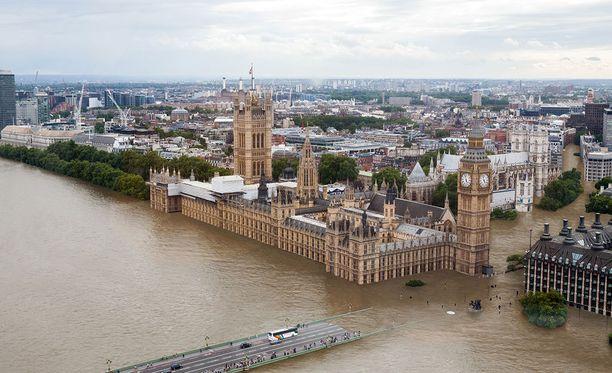 Neljän asteen kohdalla Thames-joen ylittävä silta olisi pahoin veden alla.