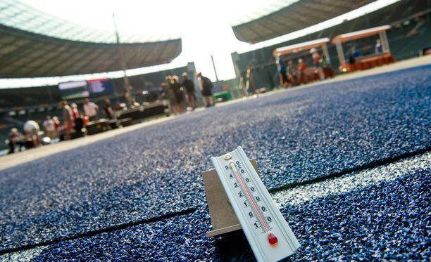 Berliinin olympiastadionilla on kuuma.