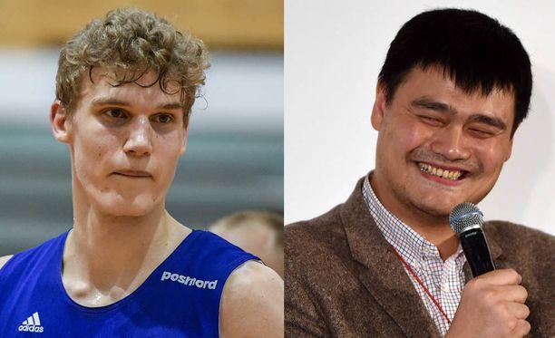Lauri Markkanen ja Yao Ming tapasivat Pekingissä.