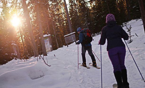 Lapin hiihtokeskusten lumitilanne on hyvä. Kuvituskuva.