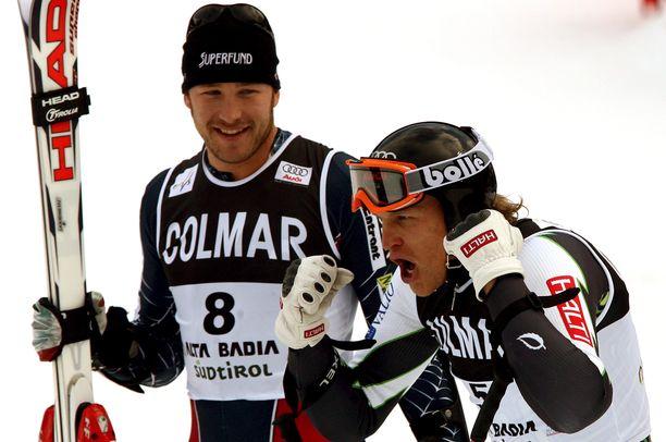 Bode Millerillä (vas.) ja Kalle Palanderilla oli vauhti päällä rinteissä ja niiden ulkopuolella.